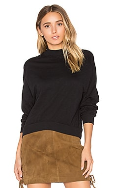 Slub Jersey Crop Sweatshirt in Black