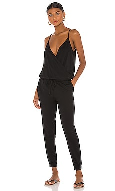 Supreme Jersey Surplice Jumpsuit in Black