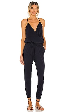 Supreme Jersey Tied Waist V Neck Jumpsuit in Passport