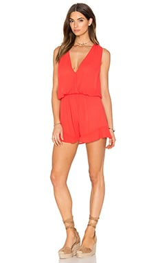 Rayon Gauze Ruffle V Neck Romper in Retro Red