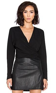 BLACK Georgette Long Sleeve Wrap Crop Top in Black