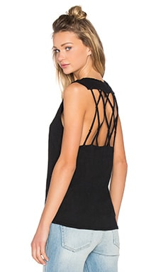 Slubbed Jersey Open Back Tank in Black
