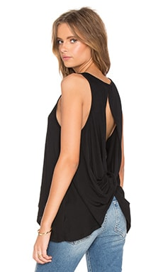 Light Weight Jersey Open Back Scoop Neck Tank in Black