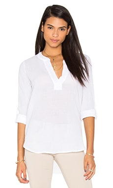Gauze V Neck 3/4 Sleeve Top in White