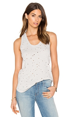 Slubbed Ripped Holes Scoop Neck Tank in Icy Grey