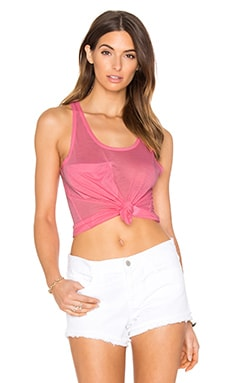 Tissue Jersey Scoop Neck Front Pocket Tank in Pink
