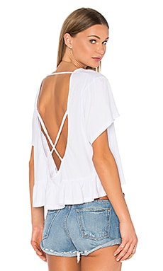 Light Weight Open Cross Back Tee in White
