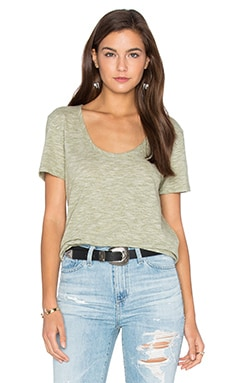 Mini Striped Jersey Scoop Neck Tee in Green