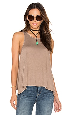 Knit Gauze Scoop Neck Tank in Tan
