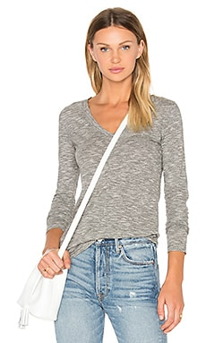 Mini Striped Jersey Long Sleeve V Neck Top in Black