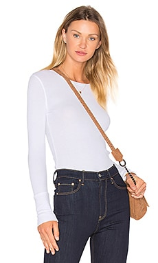 Modal Thermal Long Sleeve Crew Neck Top in White