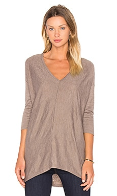 Fine Woolen Jersey 3/4 Sleeve V Neck Top in Beige