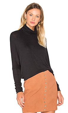 Draped Rib Long Sleeve Turtleneck Top in Black