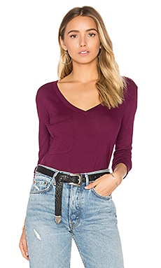 Light Weight Jersey Front Pocket Long Sleeve Top in Black Cherry