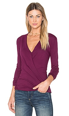 Light Weight Jersey Cross Front Top in Black Cherry