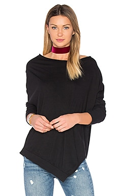 Light Weight Jersey Cowl Neck Long Sleeve Top in Black