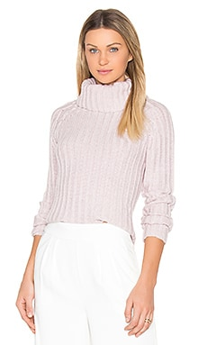 Ribbed Turtleneck Sweater in Pink Twist