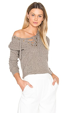 Lace Up Sweater in Natural