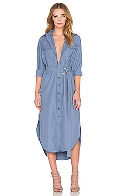 On Point Shirt Dress in Blue Suiting