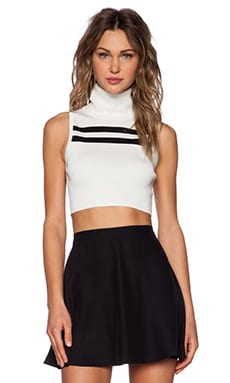 Pyramids Top in Ivory & Black