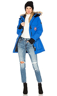 Polar Bear International Expedition Parka with Coyote Fur Trim in PBI Blue