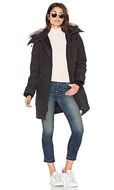Shelburne Parka with Coyote Fur Trim in Black