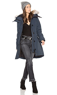 Rossclair Parka with Coyote Fur Trim in Ink Blue