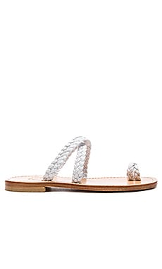 Braided Cross Sandal in White
