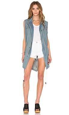 Sleeveless Survival Jacket in Washed Denim