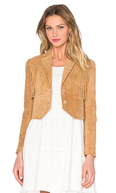 Suede Fringe Jacket in Tobacco