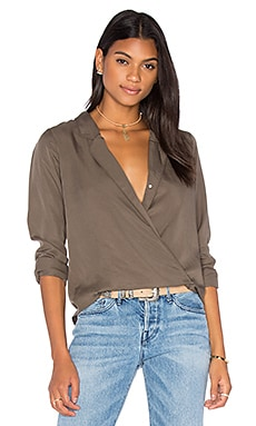 Cassidy Cross Over Blouse in Olive