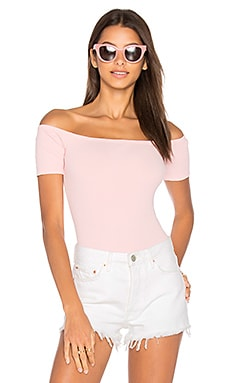 x REVOLVE Short Sleeve Shoulderless Bodysuit in Pink