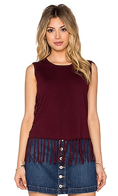 Brown Fringe Sleeveless Sweater in Burgundy