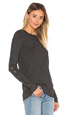 Cambridge Lace Up Sweater in Charcoal