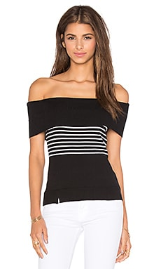 Dubrovnik Off Shoulder Top in Black & White