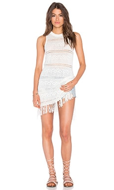 Bueno Aires Fringe Dress in White