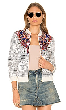 Printed Stretch Bomber Jacket in Lost Paradise