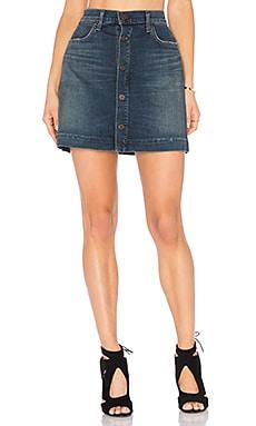 Button Front Mini Skirt in Aurora