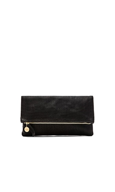 Foldover Clutch in Black Perf