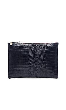 Oversize Clutch in Ink Croco