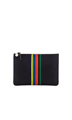 Rainbow Margot Flat Supreme Clutch in Black & Rainbow Stripe