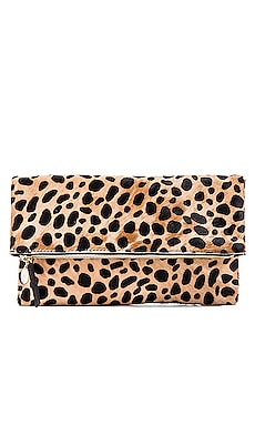 Foldover Calf Hair Clutch in Leopard