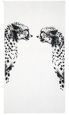Cheetah Mirror Beach Towel in White