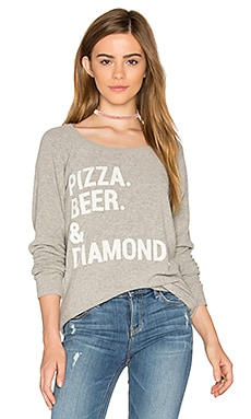 Pizza Beer & Diamonds Sweatshirt in Heather Grey