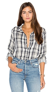 Romy Plaid Button Up in Navy & Cream