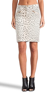 The Soho Zip Pencil Skirt in Stone Leopard