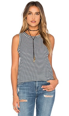 The Cross Back Muscle Tank in Blue Birkin Stripe