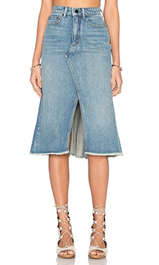 A-Line Skirt in Light Indigo Aged