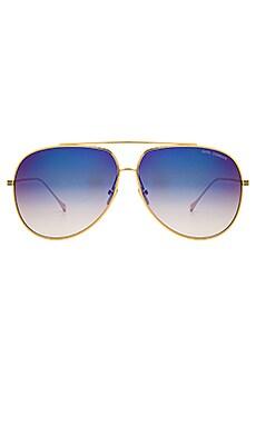 Condor Sunglasses in Gold, Dark Grey, & Blue Mirror