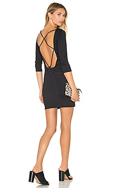 Back Strappy 3/4 Sleeve Dress in Black
